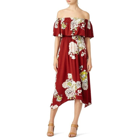 7ca5e39b5aab Astr Dresses   Skirts - ASTR Rust Red Floral Off the Shoulder Dress